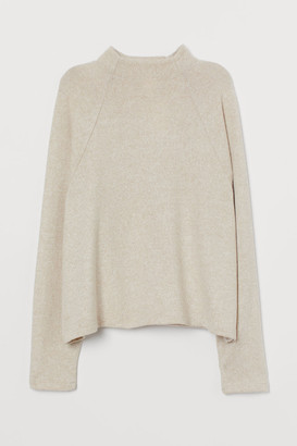 H&M Stand-up-collar Top - Beige
