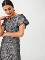 Gina Bacconi Jacquard Snake Print Ruffle Cap Sleeve Dress - Grey