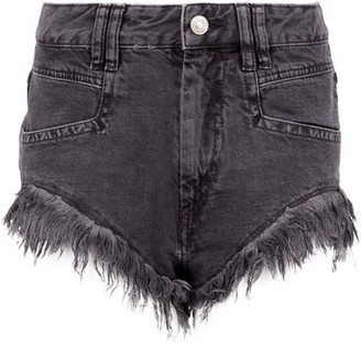 Isabel Marant Eneida Frayed-hem Denim Shorts - Womens - Black