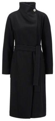 HUGO BOSS Wrap coat in a virgin-wool blend with cashmere