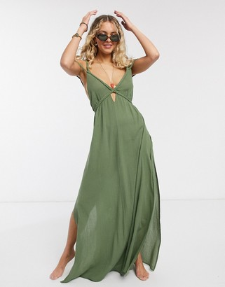 ASOS DESIGN plait maxi beach dress in textured khaki