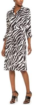 Calvin Klein Zebra-Print Shirtdress