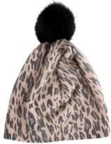 Bonpoint Girls' Leopard Pom-Pom Beanie