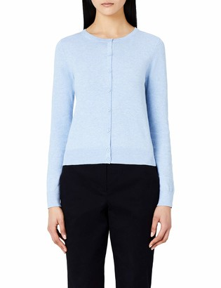 Meraki Women's Lightweight Cotton Crew Neck Cardigan Sweater (Ocean Blue) XXL (US 16)