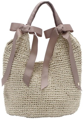 Un Billion UN Billion Burlap Tote with Satin Handle - Shelby