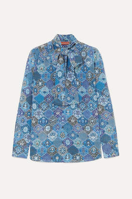 Altuzarra Visage Pussy-bow Printed Silk Blouse - Blue