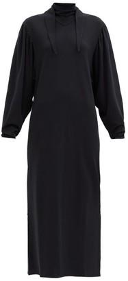 Lemaire Scarf-neck Cotton Midi Dress - Black