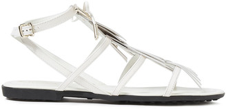 Tod's Logo-appliqued Fringed Leather Sandals