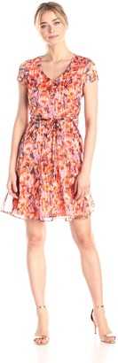 Andrew Marc Women's Blurred Floral Fit and Flare Dress