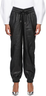 Alexander Wang Black Dipped Waist Jogger Leather Pants