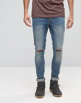 Asos Super Skinny 12.5oz Jeans With Knee Rips In Light Blue
