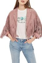 Topshop Maggie Suede Tassel Jacket