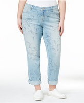 Style&Co. Style & Co Plus Size Curvy Miami Bloom Blue Wash Boyfriend Jeans, Only at Macy's
