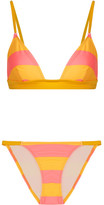 Solid and Striped - The Morgan Striped Triangle Bikini - Marigold