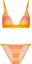 Solid and Striped - The Morgan Striped Triangle Bikini - Marigold