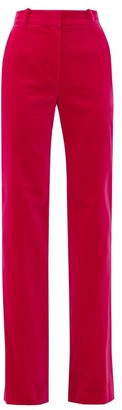 Bella Freud David Cotton-velvet Wide-leg Trousers - Pink