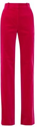 Bella Freud David Cotton-velvet Wide-leg Trousers - Womens - Pink