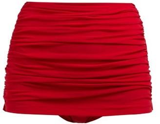Norma Kamali Bill Ruched High-rise Bikini Briefs - Womens - Red
