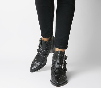 Office Astrology Western Boots With Buckles Black Snake Silver Hardware
