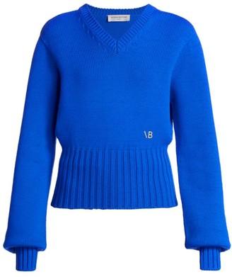 Victoria Beckham Blouson-Sleeve Wool-Blend V-Neck Sweater