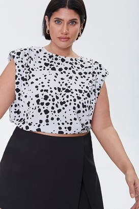 Forever 21 Plus Size Spotted Print Crop Top