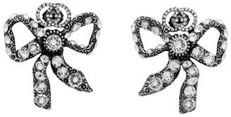 Gucci Silver Crystal Bow Earrings