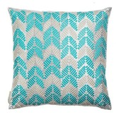 Hand Embroidered Leaves Silk Throw Pillow Sivaana
