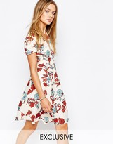 Glamorous Wrap Front Tea Dress in Vintage Floral