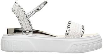 Casadei Woven White Sandals