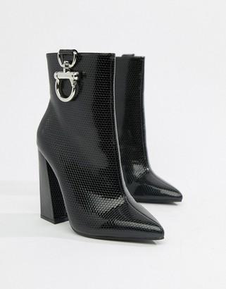 Public Desire Forever black croc silver hardwear boots