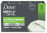 Dove Men +Care Body and Face Bar - Extra Fresh - 4 oz - 4 ct
