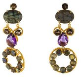 Bounkit Labradorite, Amethyst & Smoky Quartz Earrings