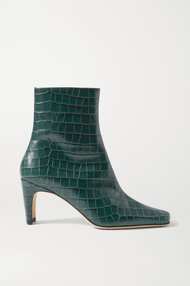 STAUD Eva Croc-effect Leather Ankle Boots - Petrol