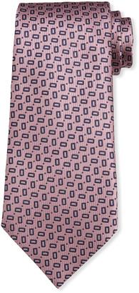 Ermenegildo Zegna Men's Small Rectangles Silk Tie