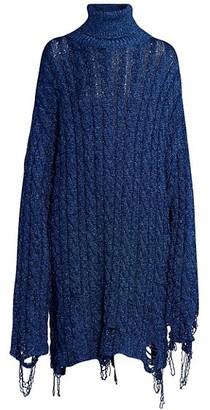 Balenciaga Lurex Cable Knit Destroyed Turtleneck Dress