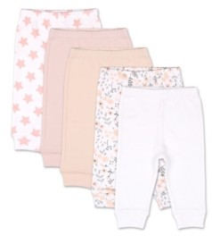 The Peanut Shell The Baby Girls Flowers Stars 5 Pack Cuffed Pants