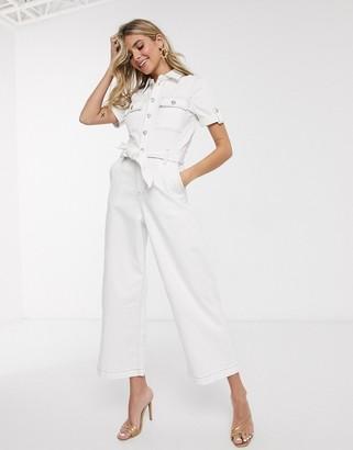 Morgan contrast stitch denim jumpsuit in white