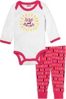 Skip Hop Pink & White 'Rise & Shine' Long-Sleeve Bodysuit & Leggings