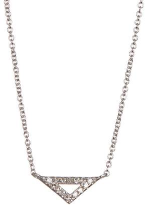 Carriere Stervling Silver Pave Diamond Petite Triangle Pendant Necklace - 0.07 ctw