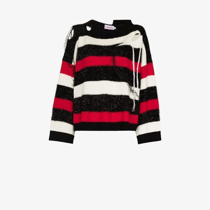 Charles Jeffrey Loverboy Black Slash Stripe Sweater
