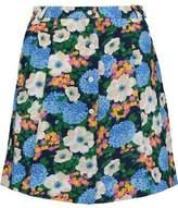 Carven Floral-Print Crepe Mini Skirt