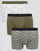 New Look New Look Trunks In Khaki Geo Print 3 Pack