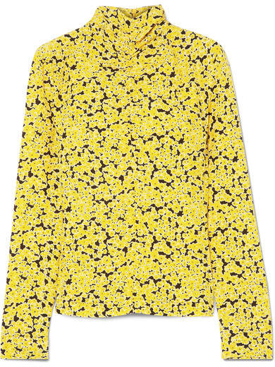 Cédric Charlier Ruched Floral-print Silk Turtleneck Top - Yellow