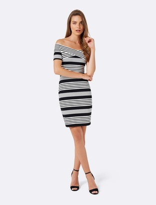 Forever New Sarah Cross Front Bardot Dress - Black/Porcelain Stripe - 14