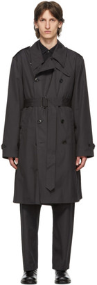 Lemaire Grey Double-Breasted Trench Coat