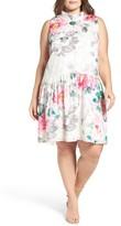 Eliza J Plus Size Women's Floral Print Shift Dress