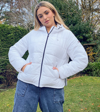 Tommy Jeans Plus padded jacket in white