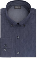 Kenneth Cole Reaction Men's Slim-Fit Techni-Cole 3 Way Flex Blue Print Dress Shirt