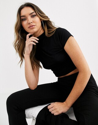 Asos Design DESIGN crop t-shirt with high neck and cap sleeve in black