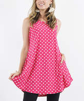 42pops 42POPS Women's Tunics 05_FuchsiaWhiteMidDot - Fuchsia & White Mid Dot Sleeveless Hi-Low Pocket Swing Top - Women